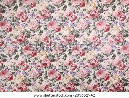 Rose design Seamless pattern on fabric as background - stock photo