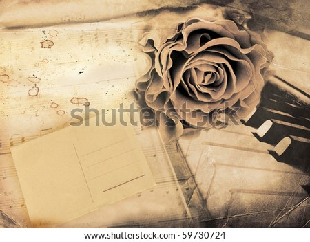 rose, envelope and piano - vintage romantic background - stock photo
