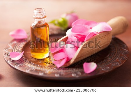 rose flower and essential oil. spa and aromatherapy  - stock photo