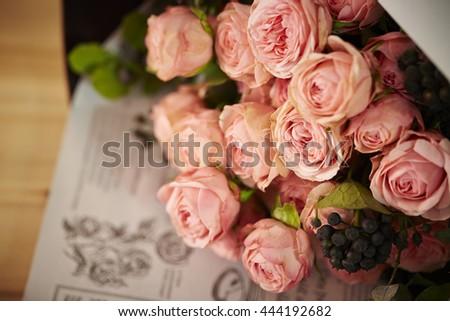 Rose flower bouquet - stock photo