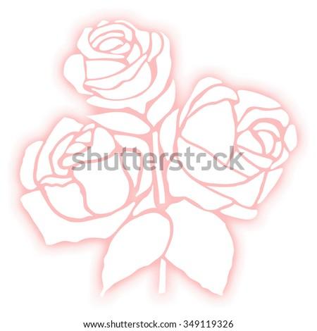 Rose flower stencil silhouette on white background. Retro design. - stock photo