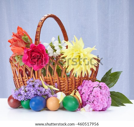 Rose, Gladiolus, Dahlia in Easter basket