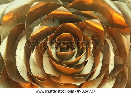 Rose, golden iron decor - ironic love - stock photo