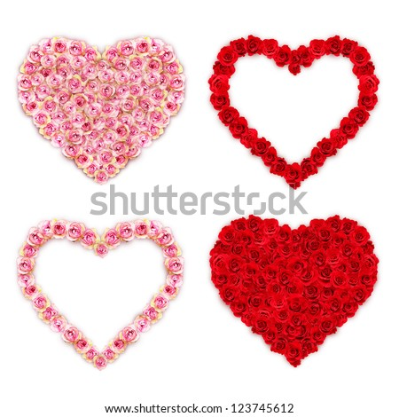 Rose hearts on white background - stock photo