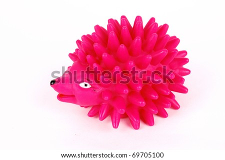 rose hedgehog toy on a white background - stock photo