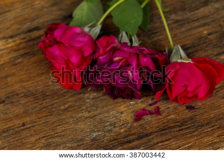 rose on a wooden table Love that wilt Love that wilt - stock photo