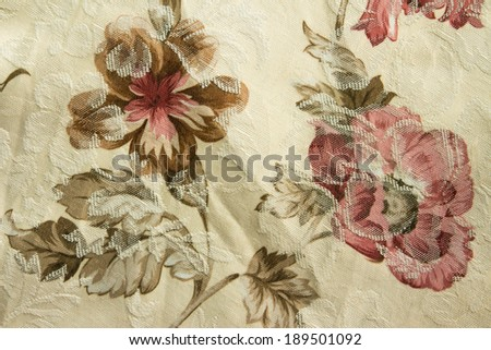 Rose pattern on fabric texture for background,close up - stock photo