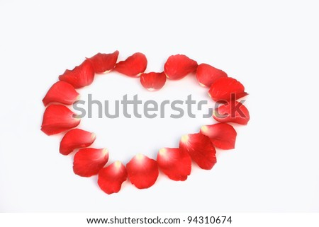 Rose petals heart shape in white background.