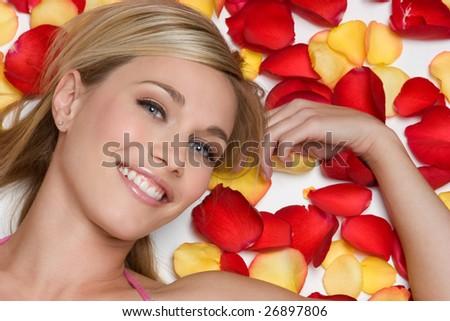 Rose Petals Woman - stock photo