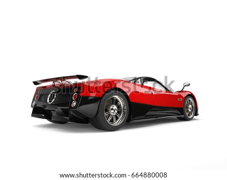 Rose Red Concept Super Sports Car With Black Side Panels   Rear Wheel View    3D