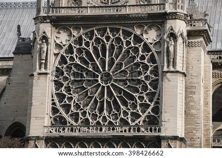 Rose window in Notre Dame Cathedral Paris France. - stock photo