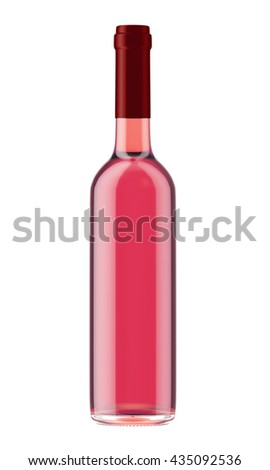Rose wine bottle with red plug isolated on white background. 3D Mock up for your design. - stock photo