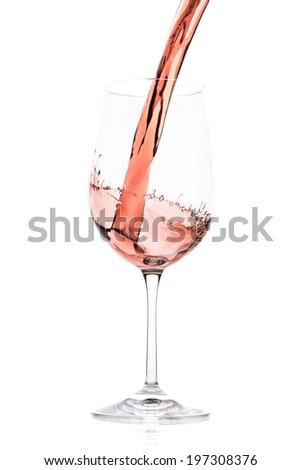 rose wine splashing on white background - stock photo