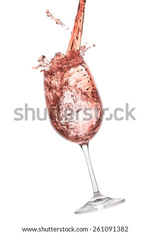 rose wine splashing on white background