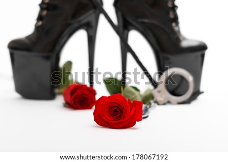 Rose with dominatrix equipment, isolated on white background - stock photo