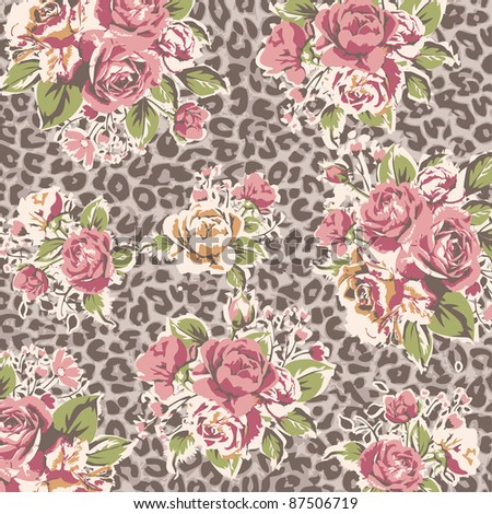 rose with leopard background - stock photo