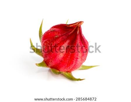 roselle fruit isolated on white background(Thailand fruit) - stock photo