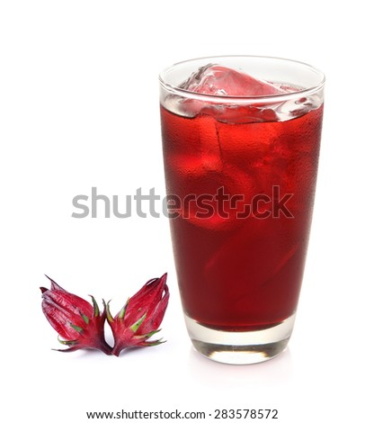 roselle mocktail drink with Hibiscus sabdariffa or roselle fruits on white - stock photo