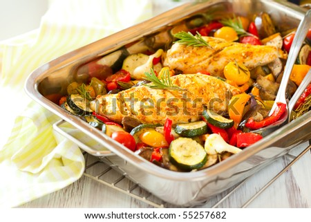 rosemary chicken with oven-roasted ratatouille - stock photo