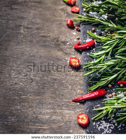 rosemary, chopped chili and salt, food background - stock photo