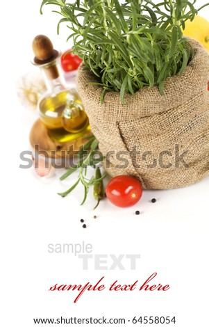Rosemary in a burlap bag and fresh vegetables (with sample text)