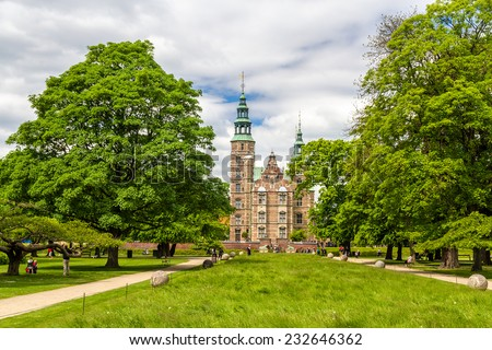 Rosenborg Castle Gardens in Copenhagen - Denmark - stock photo