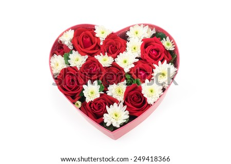 Roses and carnations held in the heart shape box. gift for valentine 's day, isolated on white background - stock photo