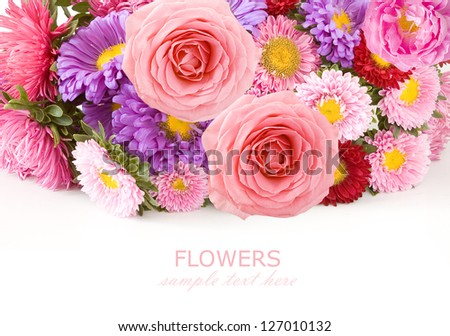 Roses and flowers background isolated on white with sample text - stock photo