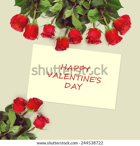 Roses bouquet and greeting card with sample text. Happy Valentines Day.