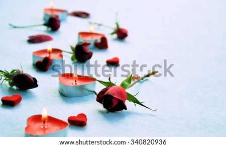 roses, candles and hearts romantic background for congratulation - stock photo