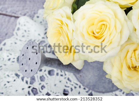 Roses in a decorative watering can on retro crochet doily - stock photo