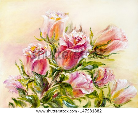 Roses, oil painting on canvas - stock photo