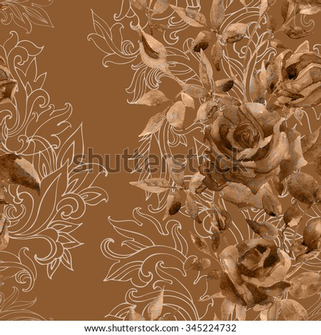 Roses on baroque ornament. Watercolor flowers on indian paisley seamless pattern. Hand painted illustration  - stock photo