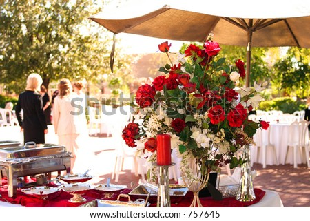 Roses on the buffet table at a celebration - stock photo
