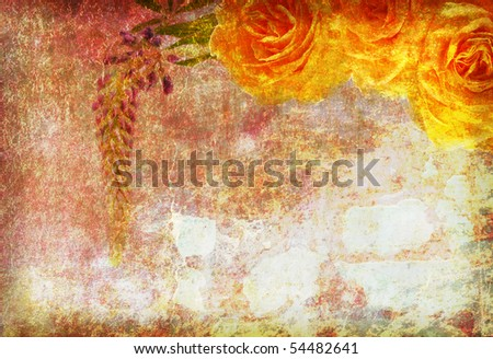 roses on the old grunge texture with some spots - stock photo