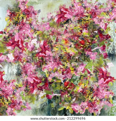 Roses, painting with watercolor and gouache, artistic background - stock photo
