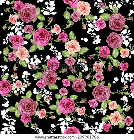 Roses pattern on black backdrop. Seamless background. Raster version. - stock photo