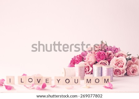 Roses, Peonies - stock photo