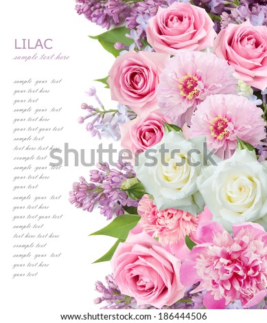 Roses, peony and lilac background isolated on white with sample text - stock photo