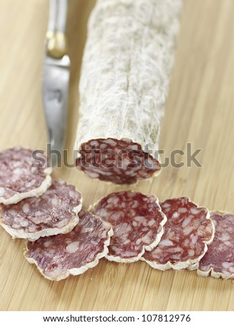 Rosette de Lyon,dried sausage - stock photo