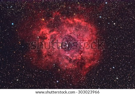 Rosette Nebula NGC2244  with Galaxy,Open Cluster,Globular Cluster, stars and space dust in the universe long expose. - stock photo