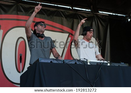 ROSEVILLE, CA - May 11: Andrew Taggart (L) and Alex Pall of The Chainsmokers perform in support of 107.9's EndFest  at Placer County Fairgrounds in Roseville, California on May 11, 2014 - stock photo