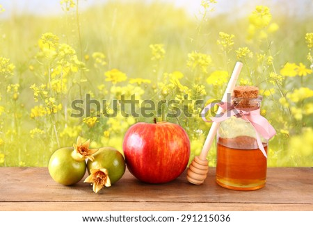 rosh hashanah (jewesh holiday) concept - honey, apple and pomegranate over wooden table. traditional holiday symbols.  - stock photo