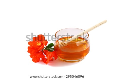 rosh hashanah (jewesh holiday) concept - top view of honey isolated on white. traditional holiday symbols.