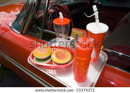 ROSMALEN, THE NETHERLANDS - MAY 16: Fastfood display on the Rock Around the Jukebox Open Air event on May 16, 2010 in Autotron Rosmalen in Holland. - stock photo