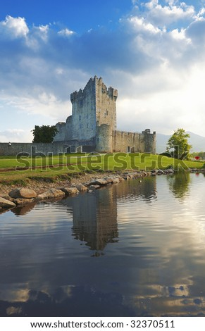 Ross Castle reflected in Lough Leane at Killarney, Co.Kerry, Ireland