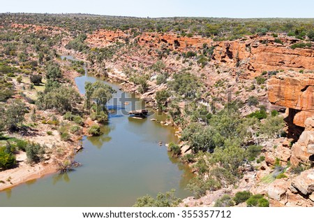 Ross Graham was a devoted conservationist who aided in the exploration of the Murchison River. This is in Kalbarri National Park - stock photo