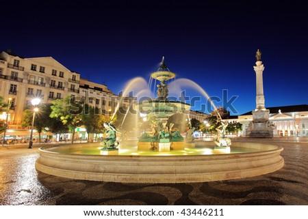 Rossio square Lisbon, Portugal at night - stock photo