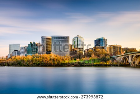 Rosslyn, Arlington, Virginia, USA city skyline on the Potomac River. - stock photo