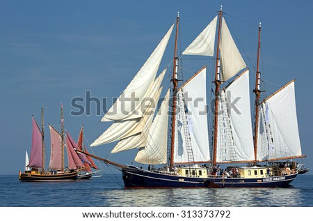 ROSTOCK, GERMANY - AUGUST 06, 2015 Old sailing ship Albert Johannes (Netherland) is sailing near Rostock on August 06, 2015 in the scope of the 25th Hanse-Sail Rostock, Germany - stock photo